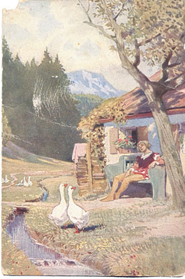Gänsehirtin am Brunnen: Graf ruht vor dem Haus der Alten.