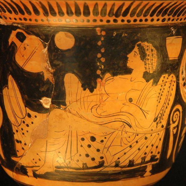 Danae auf einer böotischen Gefäss des 5. Jhdts. aCn