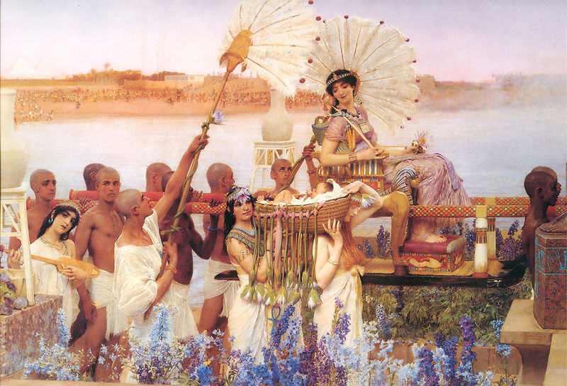 Lawrence Alma-Tadema 1904: die tochter des Pharaos bekommt Mose