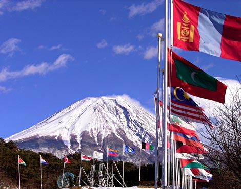 Der Fuji vom Sanctuary (Gebets-Feld) aus gesehen