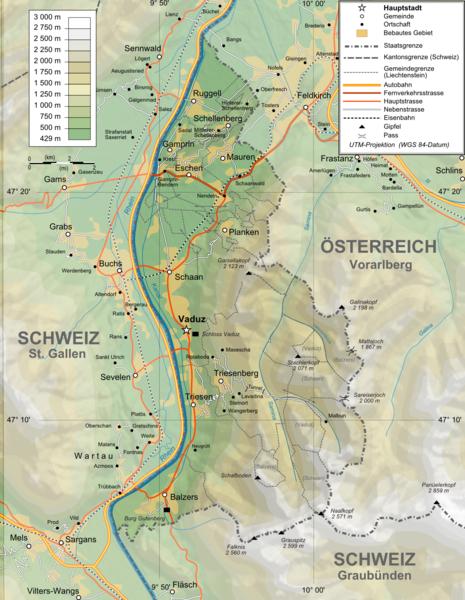 Karte von Liechtenstein