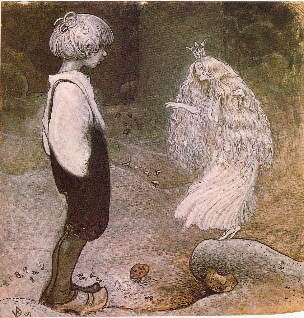 Illustration von John Bauer in einem schwedischen Märchenbuch