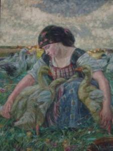 Die Gänsehirtin am Brunnen (Gemälde von Georg Mayer-Franken, Pfalzmuseum Forchheim)
