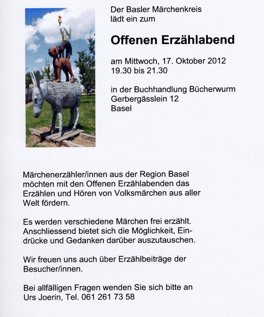 Basler Märchenkreis Flyer Offener Abend 17_10_2012