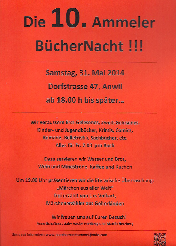 Flyer Büchernacht Ammel