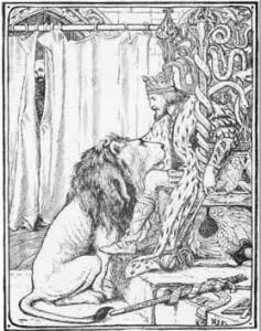 Der König mit dem Löwen (Illustration von Henry Justice Ford)